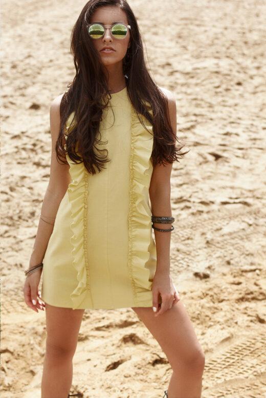 Front linen ruffled mini dress