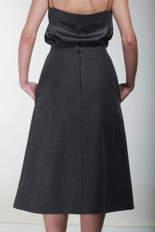 Back Grey hand embellished wool skirt