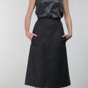 Full Grey hand embellished wool skirt